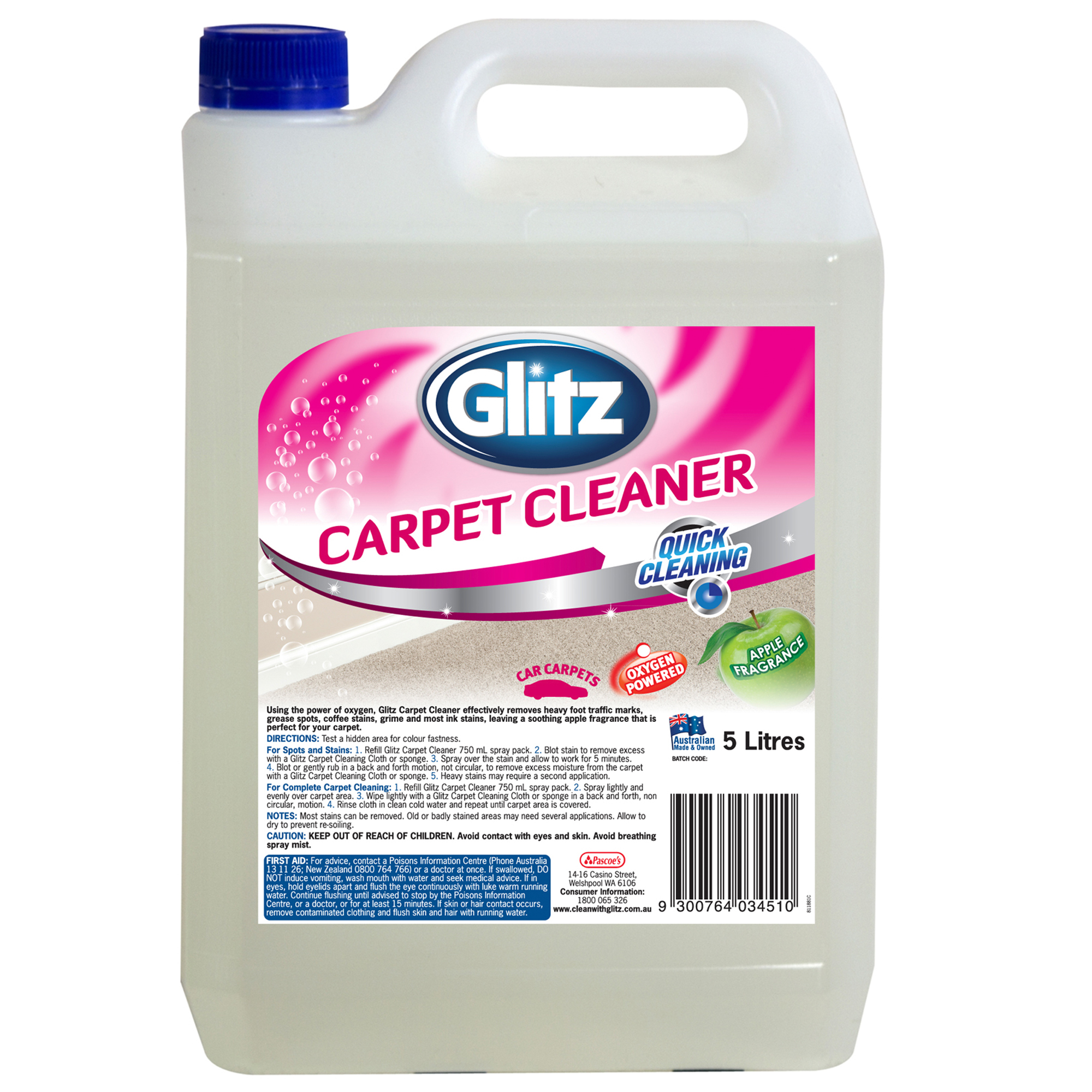 Glitz Carpet Cleaner 5l Glitz For Effortless Cleaning