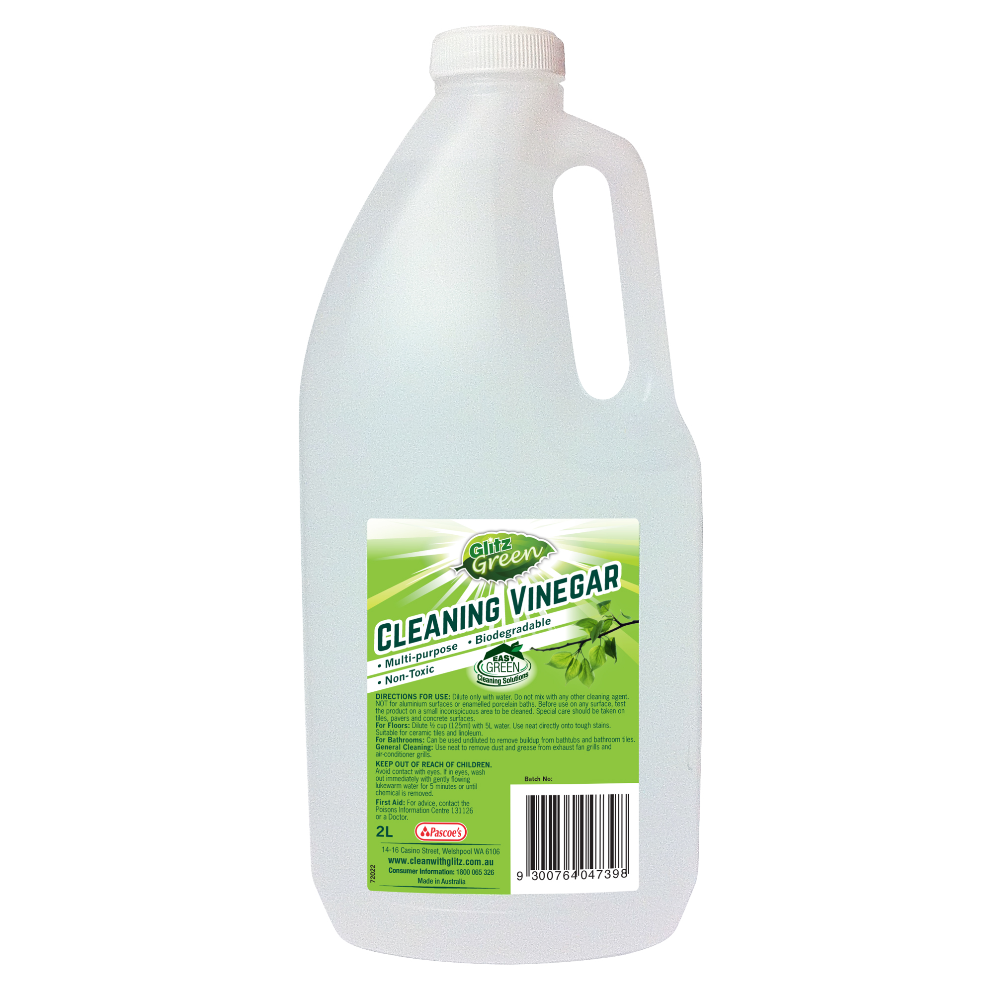 Glitz Green Cleaning Vinegar 2l Glitz For Effortless